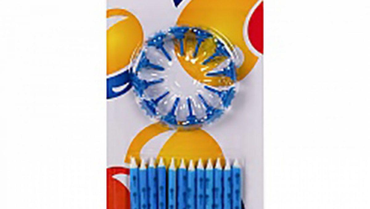 Свечи В шариках голубые 6см с держателями 12шт.