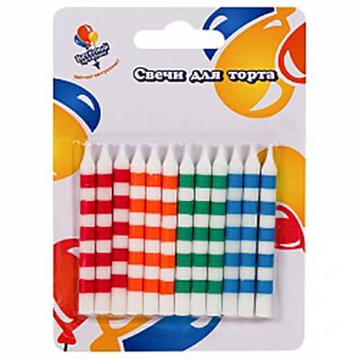 Свечи Цветные линии 6см 12шт