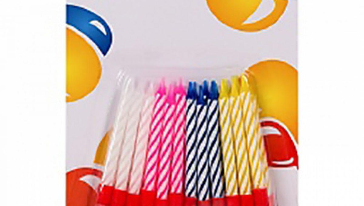 Свечи 2-х цветные 5,5см в пластиковых держателях 24шт