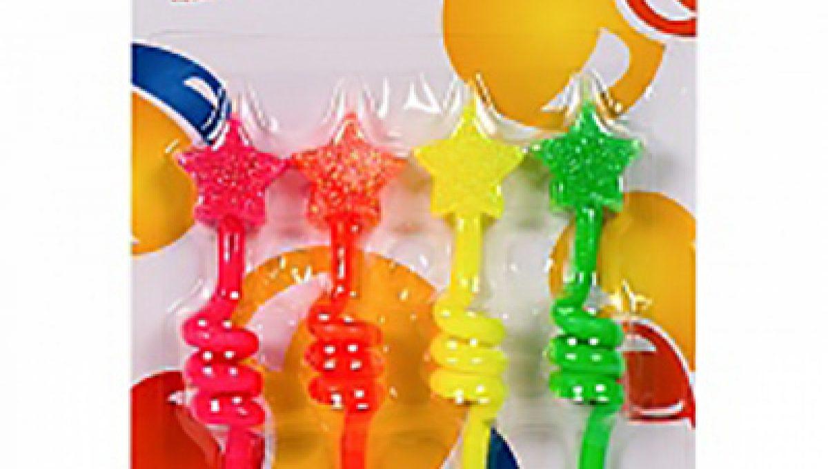 Свечи Звезды разноцветные неоновые 8,5см 4шт