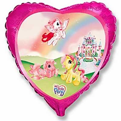 Шар (18»/46 см) Сердце, Моя маленькая пони в замке, Розовый, 1 шт