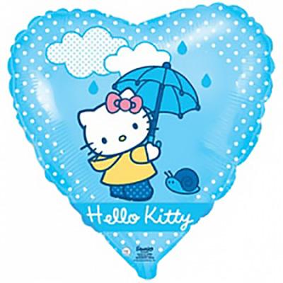Шар (18»/46 см) Сердце, Котенок с зонтиком, Голубой, 1 шт
