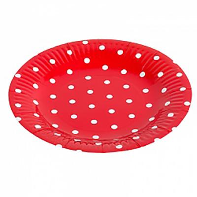 "Тарелка «Красные точки» 9"", 6шт"