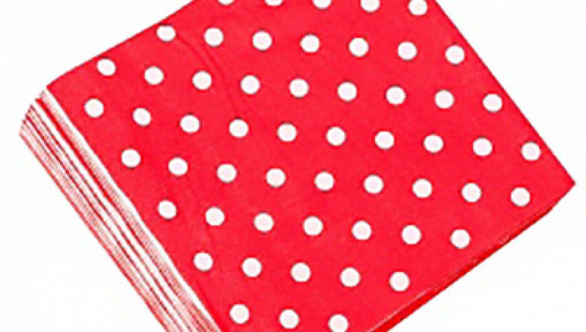 Салфетки Красные точки, 32*32см, 20шт.