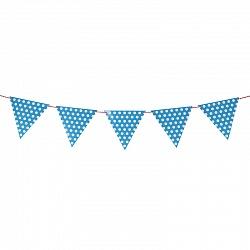 Гирлянда флажки, Точки, голубой, на веревке, 2м
