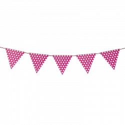 Гирлянда флажки, Точки, розовый, на веревке, 2м.