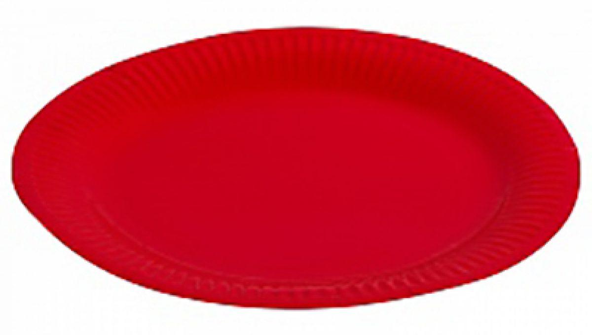 """Тарелка однотонная, красный, 9"""", 6шт"""