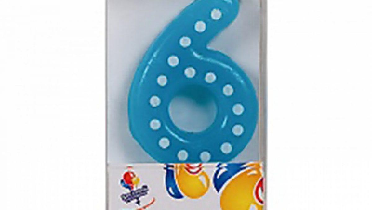 Свеча Голубая цифра 6 в белую точку, 4,3см