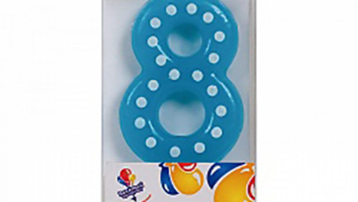 Свеча Голубая цифра 8 в белую точку, 4,3см