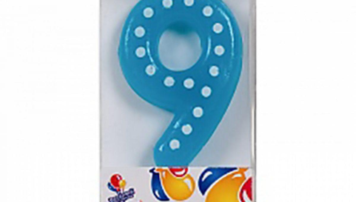 Свеча Голубая цифра 9 в белую точку, 4,3см