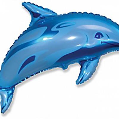Шар Дельфин фигурный, Синий (38»/97 см)
