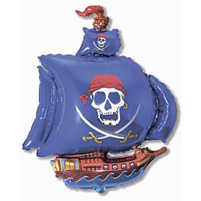 Шар, Пиратский корабль, Синий, (41»/104 см)