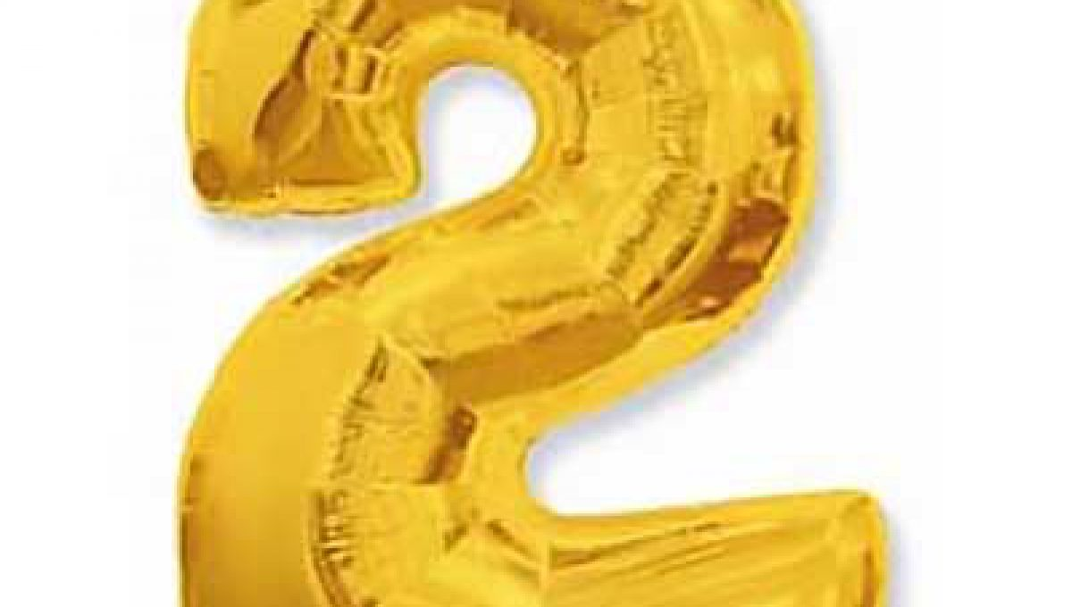 Шар (40»/102 см) Цифра, 2, Золото, 1 шт,
