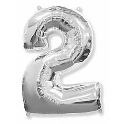 Шар (40»/102 см) Цифра, 2, Серебро, 1 шт