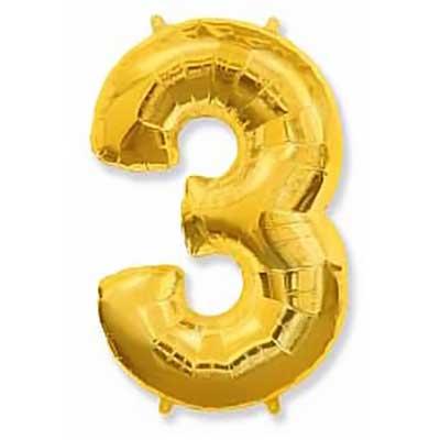 Шар (40»/102 см) Цифра, 3, Золото, 1 шт,