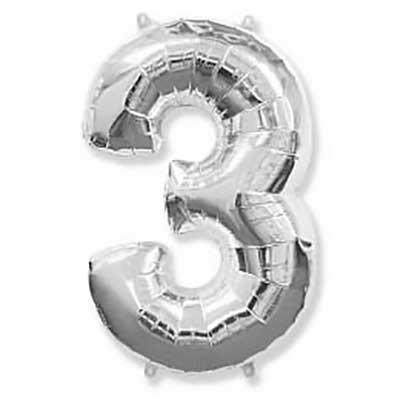 Шар (40»/102 см) Цифра, 3, Серебро, 1 шт