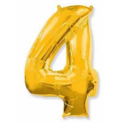 Шар (40»/102 см) Цифра, 4, Золото, 1 шт