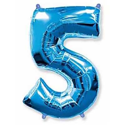 Шар (40»/102 см) Цифра, 5, Синий, 1 шт