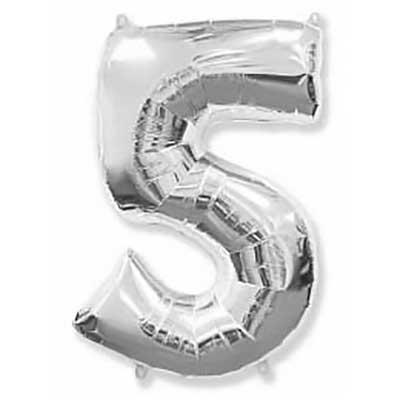Шар (40»/102 см) Цифра, 5, Серебро, 1 шт
