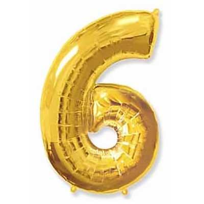 Шар (40»/102 см) Цифра, 6, Золото, 1 шт