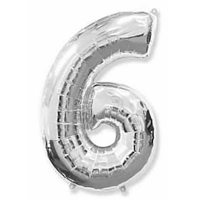 Шар (40»/102 см) Цифра, 6, Серебро, 1 шт