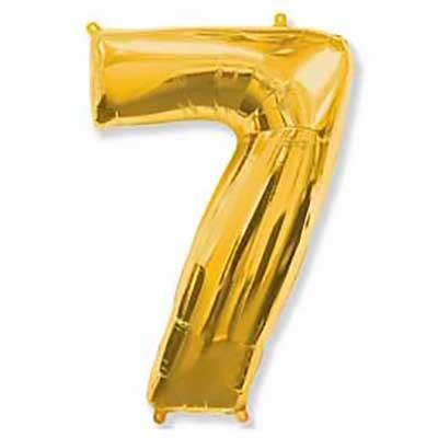 Шар (40»/102 см) Цифра, 7, Золото, 1 шт