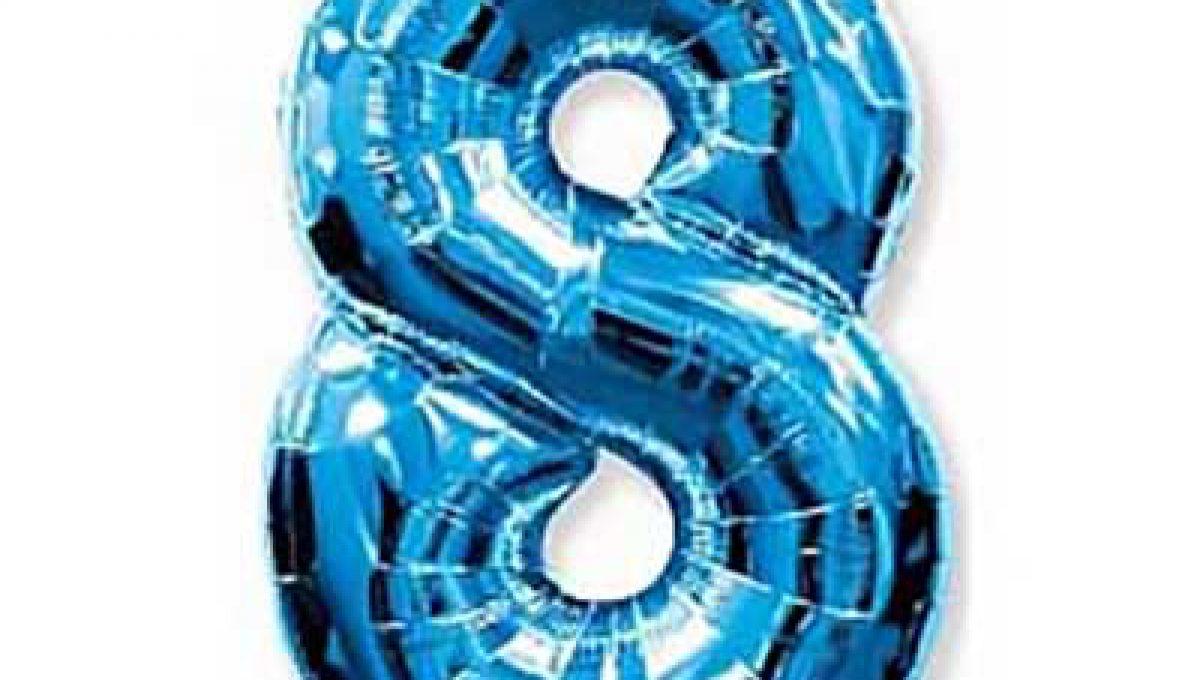 Шар (40»/102 см) Цифра, 8, Синий, 1 шт
