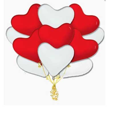 Букет красно-белых латексных сердец. / 20 шт.