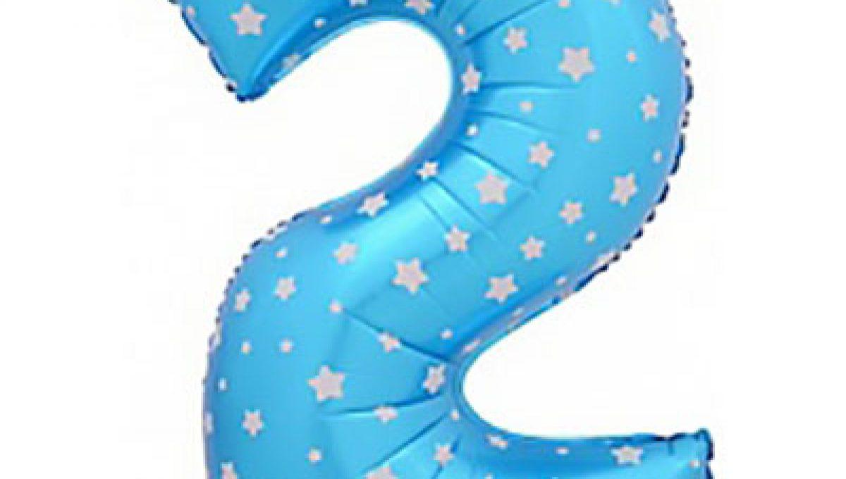 Шар (40»/102 см) Цифра-звездочки, 2, Синий, 1 шт