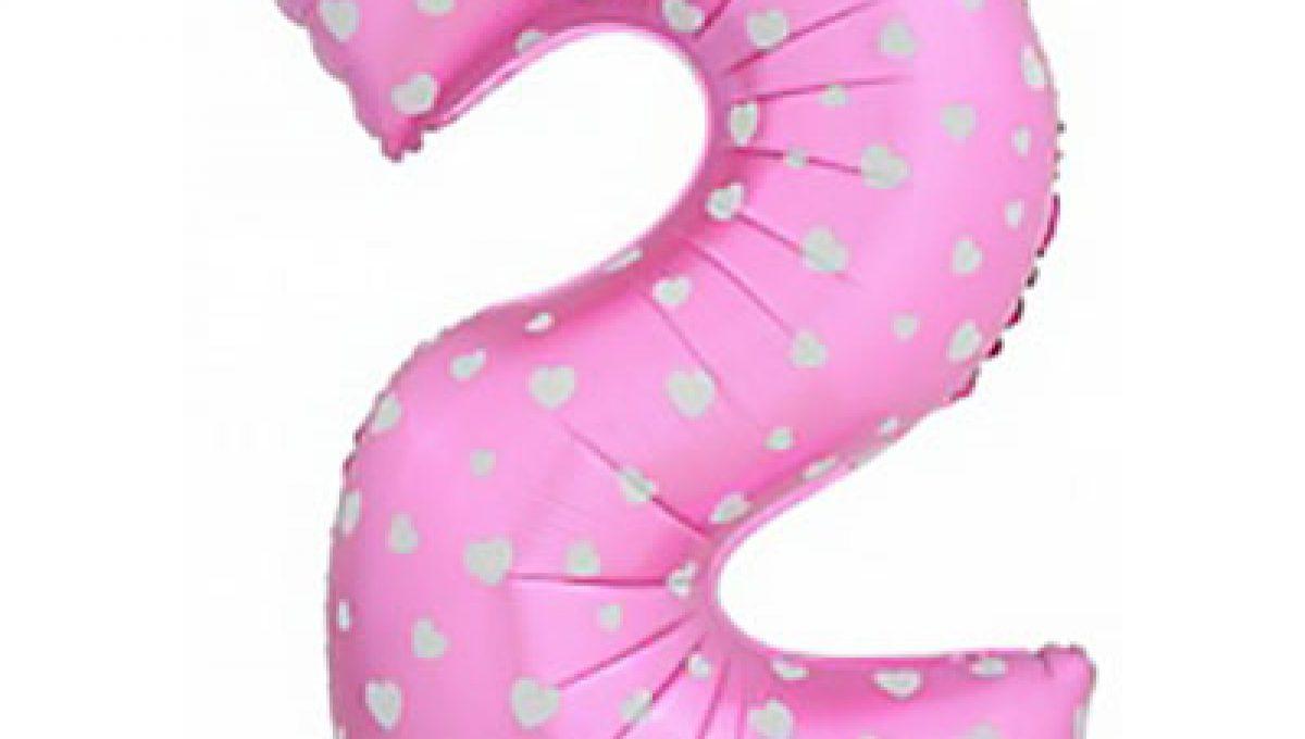 Шар (40»/102 см) Цифра-звездочки, 2, Розовый, 1 шт.