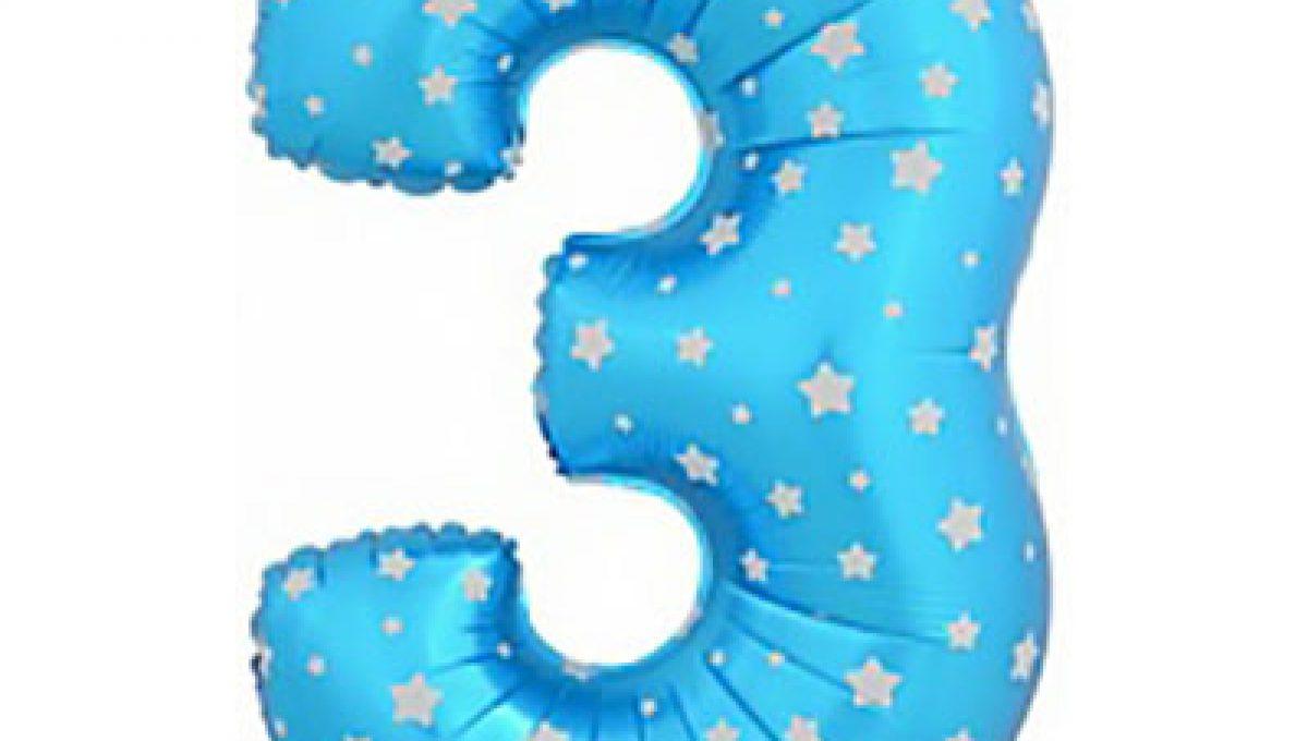 Шар (40»/102 см) Цифра-звездочки, 3, Синий, 1 шт.