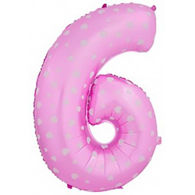 Шар (40»/102 см) Цифра-звездочки, 6 или 9, Розовый, 1 шт.