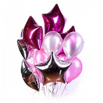 Букет серебряных и розовых шариков со звездами / 17 шт.