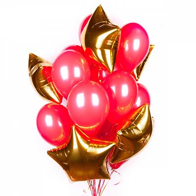 Букет  красных шаров с золотыми звездами / 20 шт.