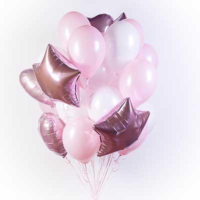 Букет  белых и розовых шаров с сердечками и звездами / 31 шт.
