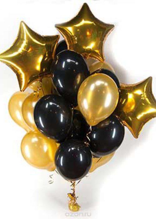 Букет черно-золотые шары со звездами / 20 шт.