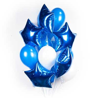 Букет  бело-синих шариков с синими звездами / 20 шт.