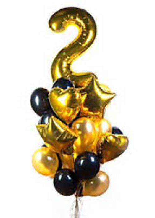 Букет на день рождения с золотой цифрой звездами и сердцами / 20 шт.