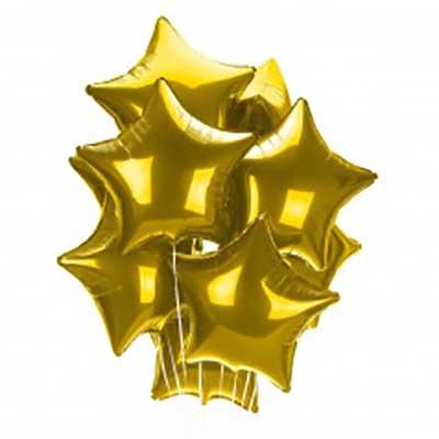 """Букет из золотых звезд / 10 шт. 18""""/46см"""
