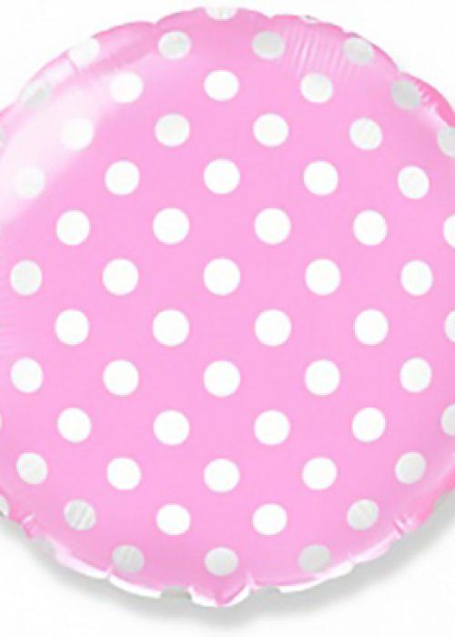 Шар (18»/46 см) Круг, Точки, Розовый
