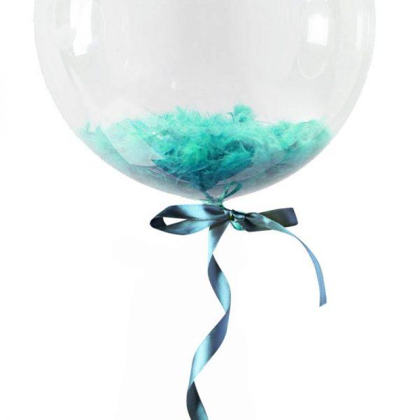 Облако шаров с перьями, Голубые. 15 ШТ. 12″/30СМ