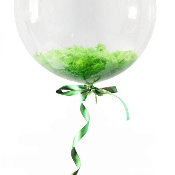 Облако шаров с перьями, Зеленые.15 ШТ. 12″/30СМ