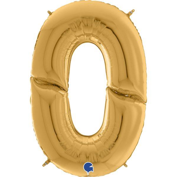 Шар (64″/163см) Цифра, 0, Золото, 1шт.