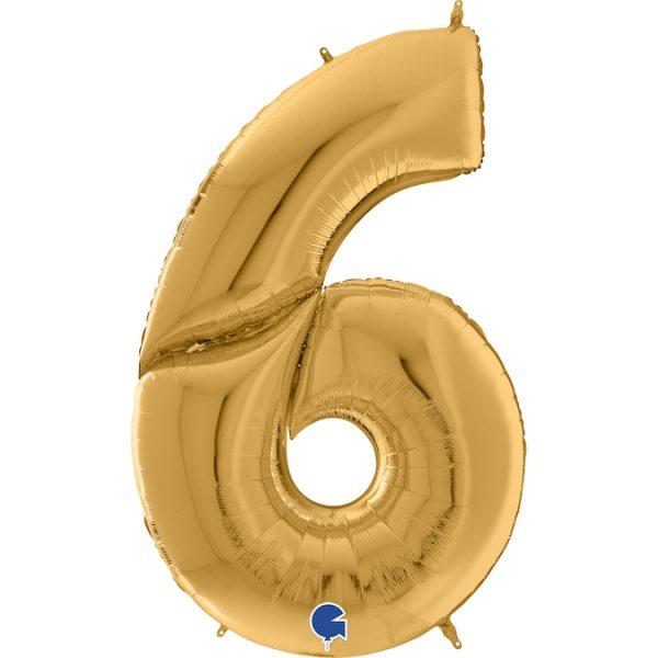 Шар (64″/163см) Цифра 6, Золото, 1шт
