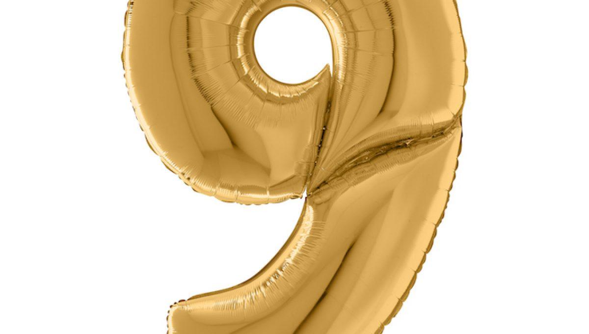 Шар (64″/163см) Цифра 9, Золото, 1шт.