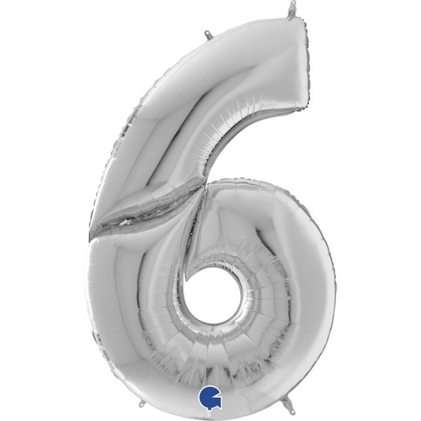 Шар (64″/163см) Цифра 6, Серебро, 1шт.