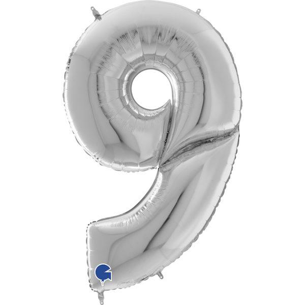Шар (64″/163см) Цифра 9, Серебро, 1шт