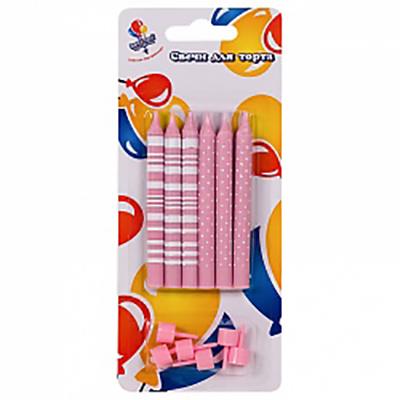 Свечи Полоски и Точки розовые 8см с держателями 6шт.