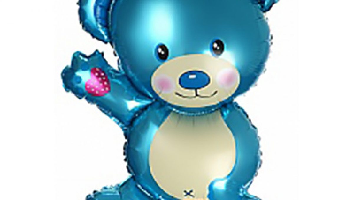 Шар (32»/81 см) Фигура, Плюшевый мишка, Голубой