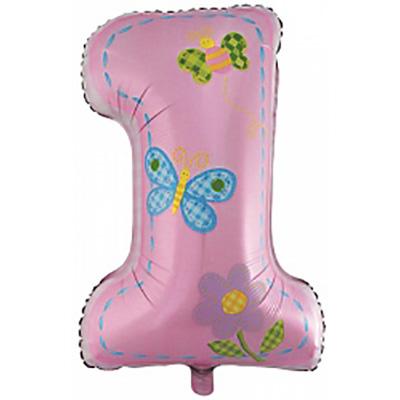 Шар (34»/86 см) Цифра, Первый день рождения, Девочка, Розовый, 1 шт.